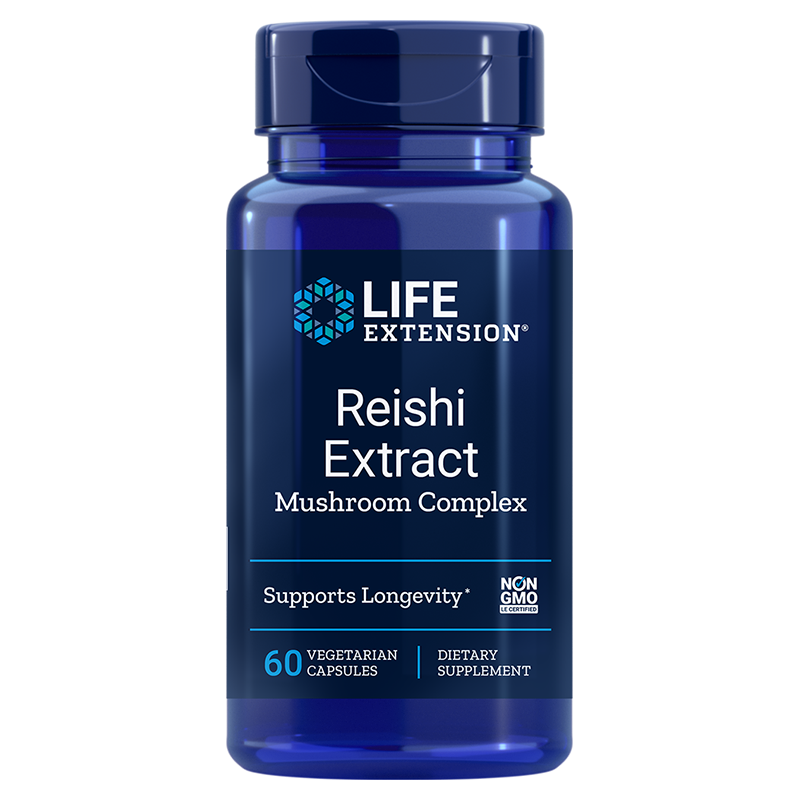 Life Extension Reishi Extract Mushroom Complex, 60 vegetarian capsules for immune support and longevity