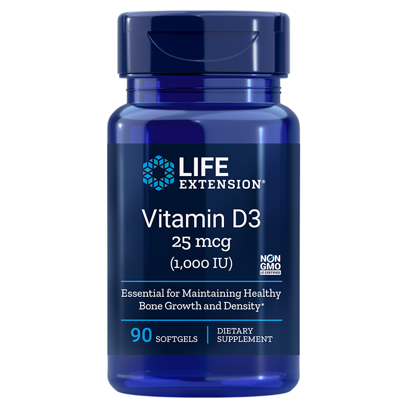 Life Extension supplement Vitamin D3, 25 mcg (1.000IU) 90 softgels for bone density-and immune function support