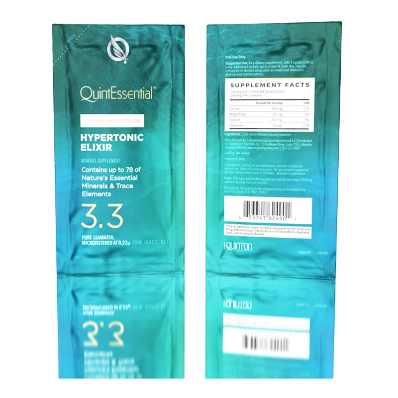 Life Extension sachets liquid of QuintEssential® Hypertonic Elixir 3.3 for optimal hydration the natural way