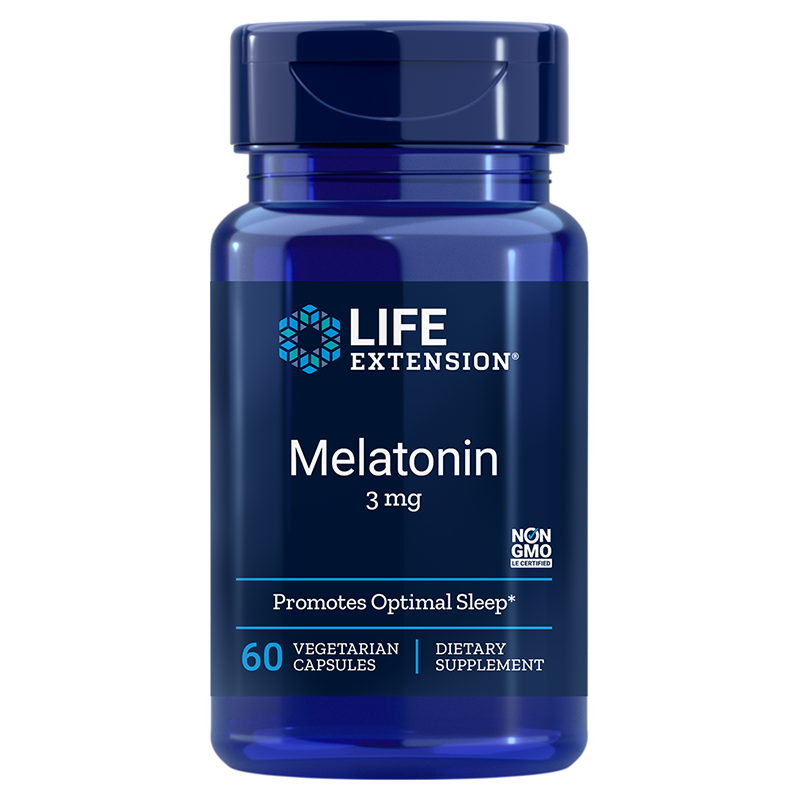 Life Extension supplement 60 vegetarian capsules Melatonin, 3 mg high dose for sleep & cellular health