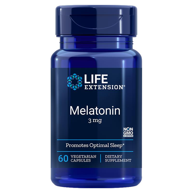 Life Extension supplement 60 vegetarian capsules Melatonin, 3 mg high dose for sleep & cellular health