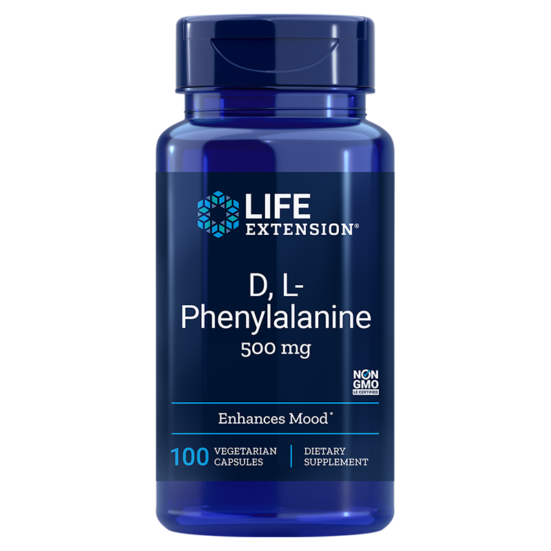 Life Extension D, L-Phenylalanine Capsules, 500 mg 100 vegetarian capsules to promote mood and neurotransmitter health
