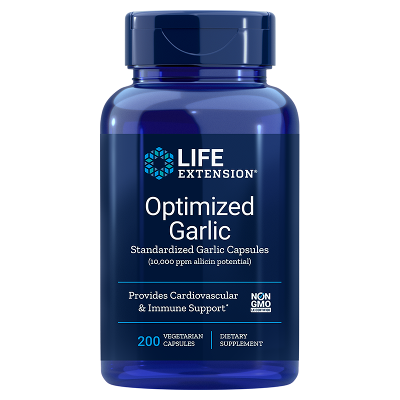 Life Extension Optimized Garlic, 1200 mg 200 vegetarian capsules to provide cardiovascular & immune support