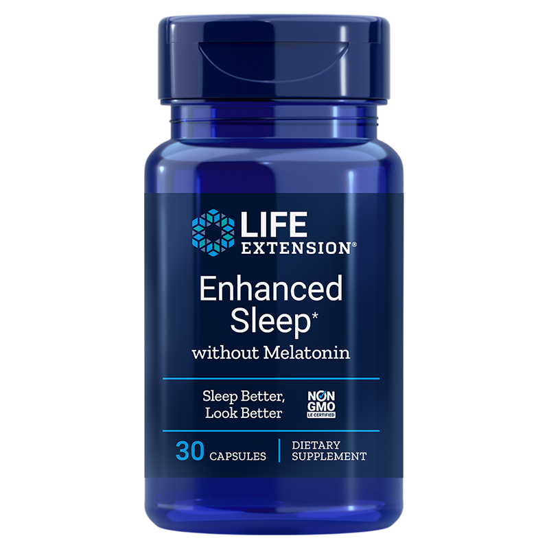 Life Extension supplement Enhanced Sleep without Melatonin, 30 capsules to support normal sleep and stress reduction