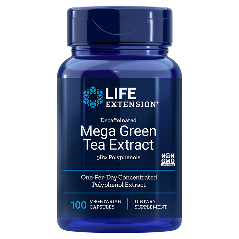 Life Extension supplement Decaffeinated Mega Green Tea Extract, 100 vegetarian capsules for many health benefits