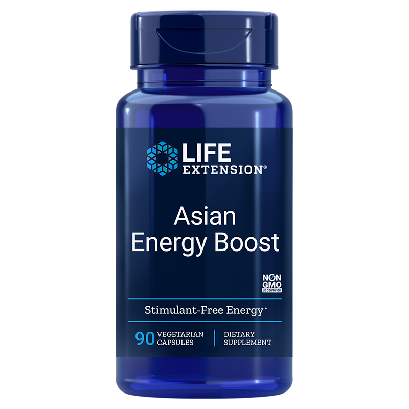 Life Extension supplement Asian Energy Boost, 90 vegetarian capsules to boost your body's own energy source