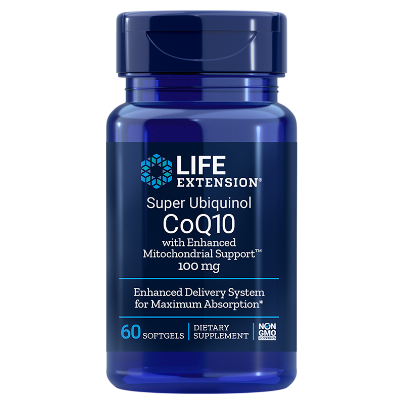 Life Extension Super Ubiquinol CoQ10 with Enhanced Mitochondrial Support™, 100 mg 60 softgels for cell energy production