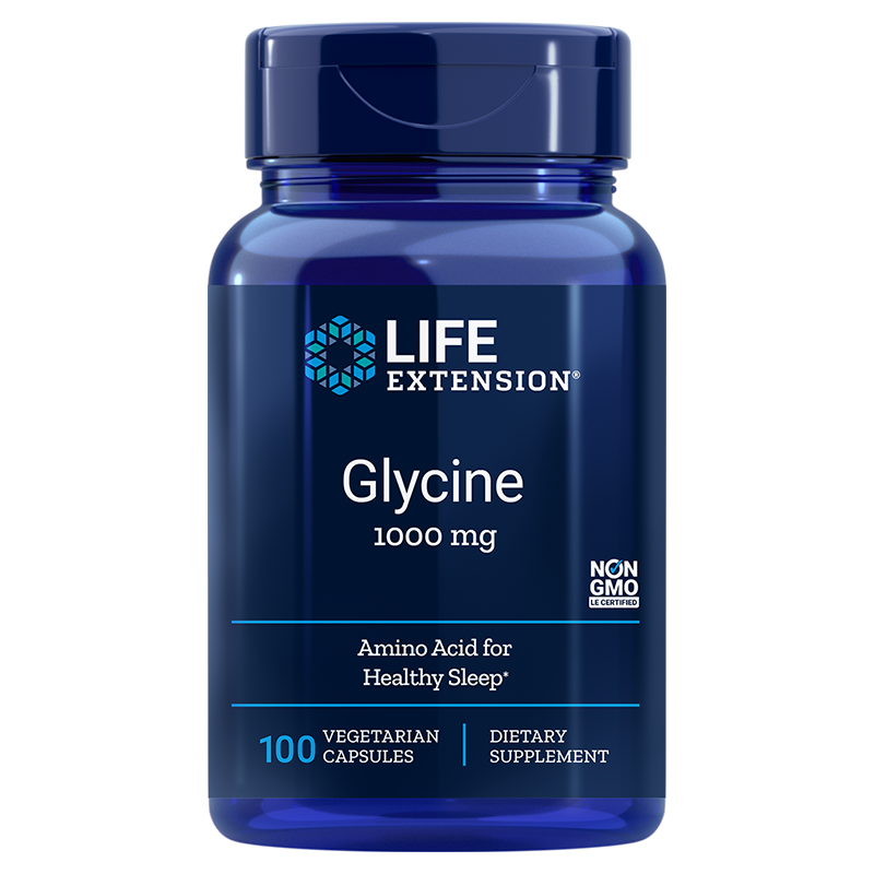 Life Extension Glycine, 1000 mg 100 vegetarian capsules of amino acid to promote healthy sleep
