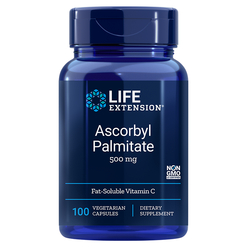 Life Extension Ascorbyl Palmitate Fat-soluble vitamin C supplement,  500 mg 100 vegetarian capsules