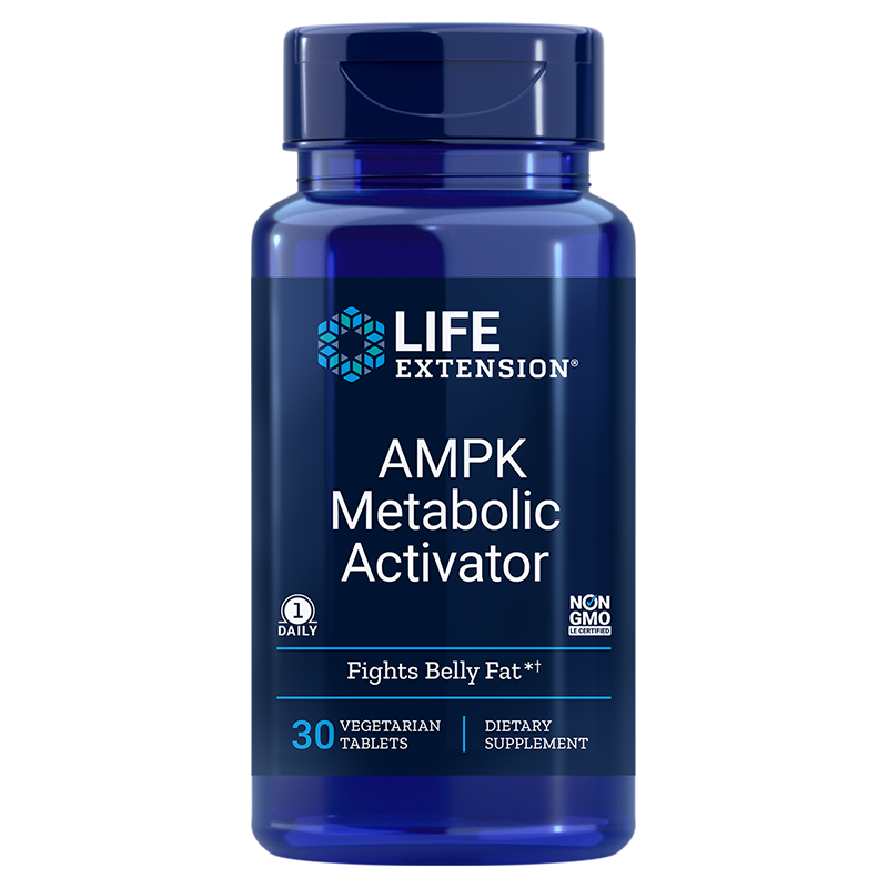 Life Extension supplement AMPK Metabolic Activator, 30 vegetarian tablets for support against unwanted abdominal fat