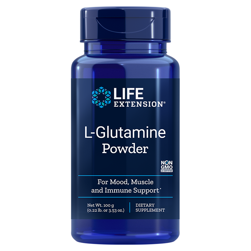 Life Extension 100 gram supplement L-Glutamine Powder, supports mood, muscle, & immune health