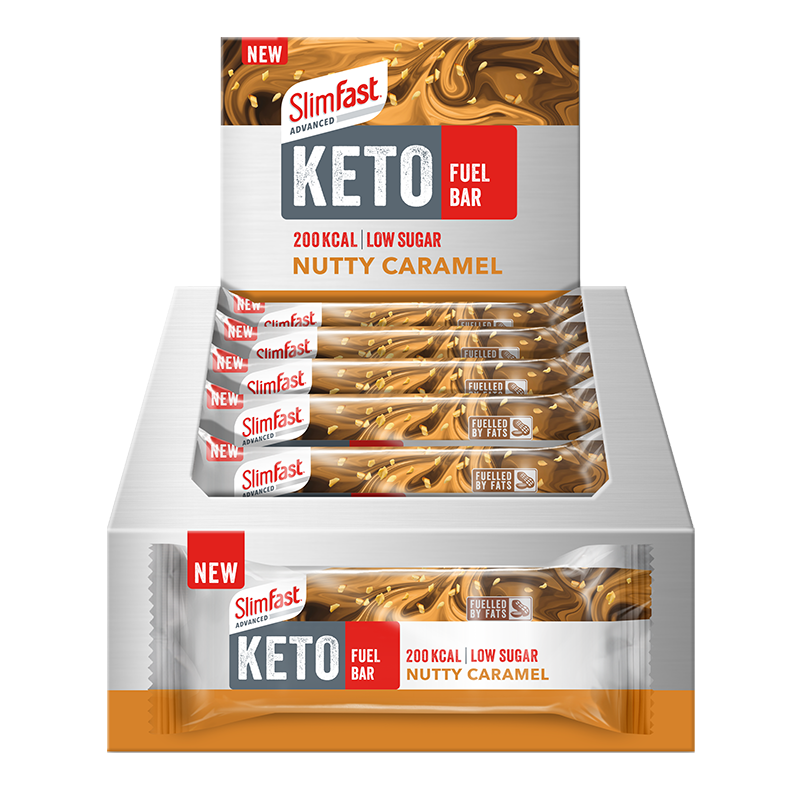 Life Extension SlimFast Keto Bar Nutty Caramel, 46 g bar to feel full nutritional snack for Keto lifestyle