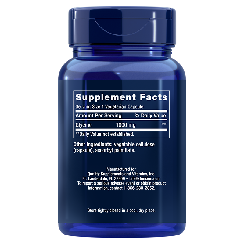 Life Extension Glycine in 1000 mg 100 vegetarian capsules, supplement facts