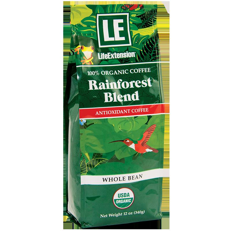 Life Extension Rainforest Blend Whole Bean Coffee, 430 g 340 powder of 100 % certified organic Arabica bean coffee