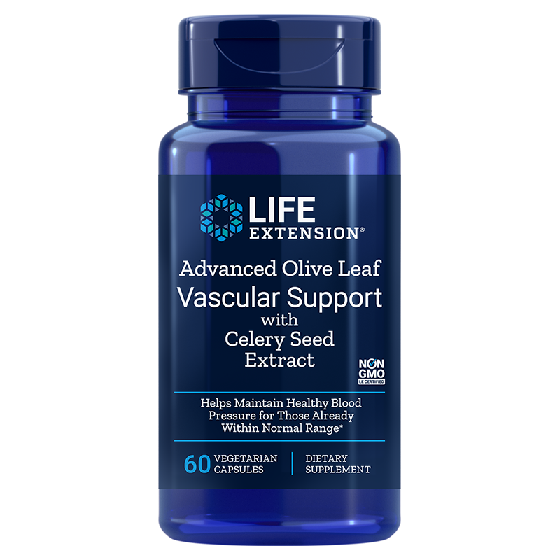 Life Extension Advanced Olive Leaf Vascular Support with Celery Seed Extract, 60 vegetarian capsules for vascular health
