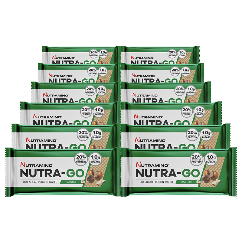 Life Extension Nutriamo Nutra-Go Protein Wafer in 39 g bar, on the go energy booster snack with haselnut taste