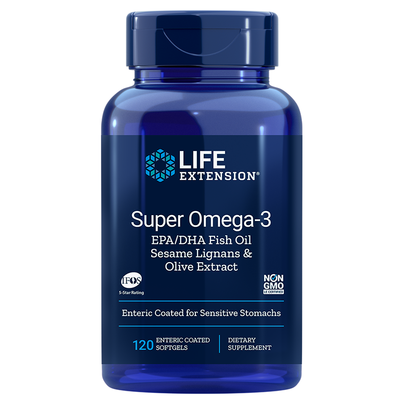Super Omega-3 EPA/DHA with Sesame Lignans & Olive Extract, 120 coated cps