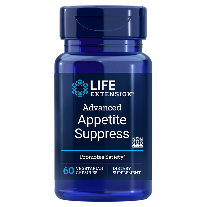 Life Extension supplement Advanced Appetite Suppress, 60 vegetarian capsules to help tame hunger