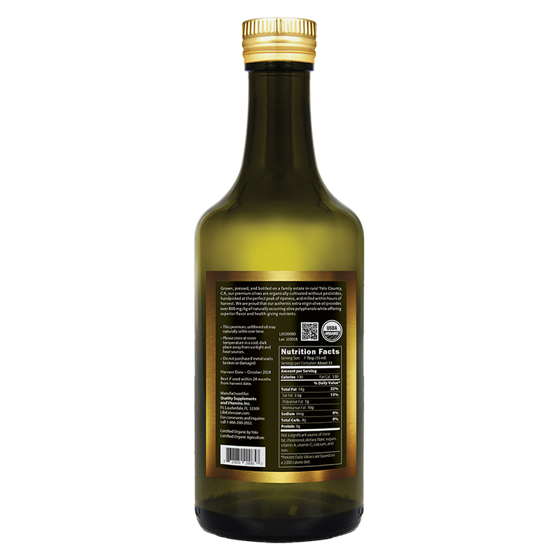 Life Extension California Estate Organic Extra Virgin Olive Oil in 500 ml, facts