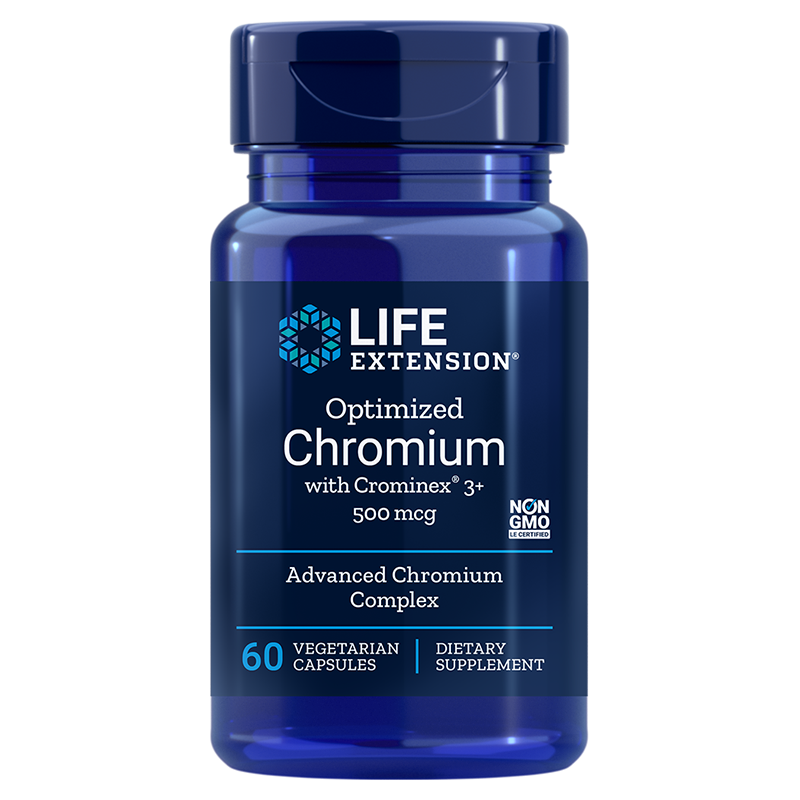Life Extension Optimized Chromium with Crominex® 3+, 60 vegetarian capsules for healthy glucose metabolism