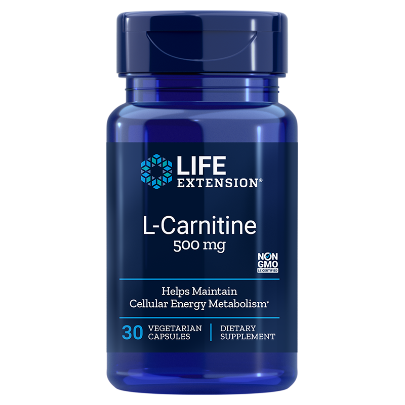Life Extension L-Carnitine, 500 mg 30 vegetarian capsules for healthy cellular energy metabolism