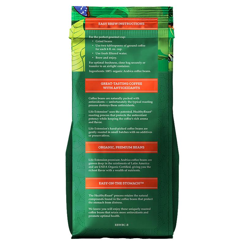 Life Extension Rainforest Blend Whole Bean Coffee, 430 g 340 powder of 100 % certified organic Arabica bean, info