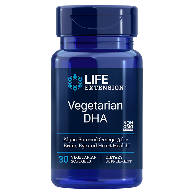Life Extension supplement Vegetarian DHA, 30 vegetarian softgels for targeted brain support