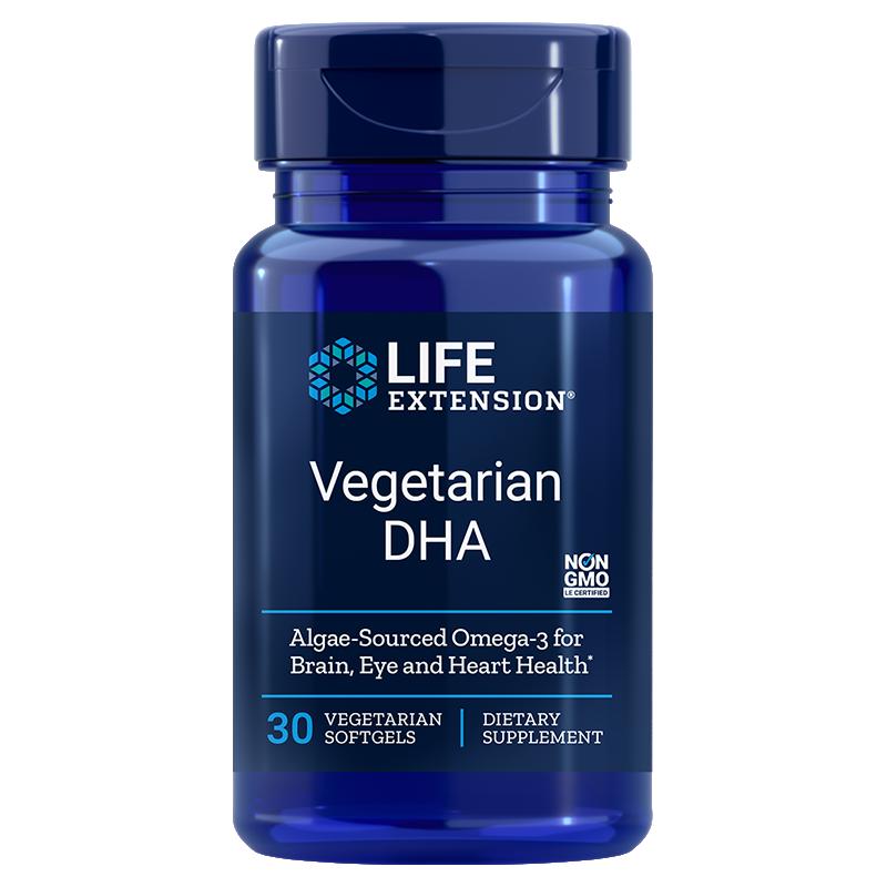 Life Extension supplement Vegetarian DHA, 30 vegetarian softgels for targeted brain support