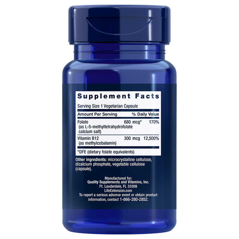 Life Extension BioActive Folate & Vitamin B12, supplement info