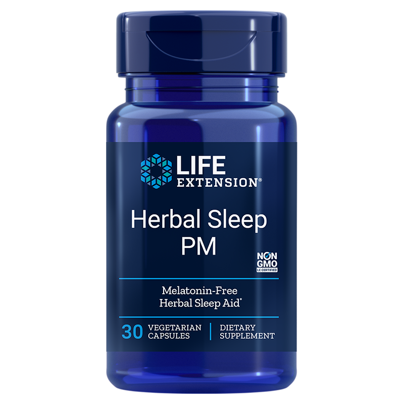 Life Extension supplement Herbal Sleep PM, 30 capsules to promote healthy sleep without melatonin