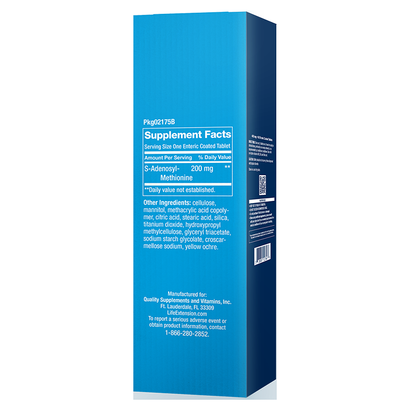 Life Extension SAMe in 200 mg 30 enteric coated tablets for mood, joint & liver support, supplement facts