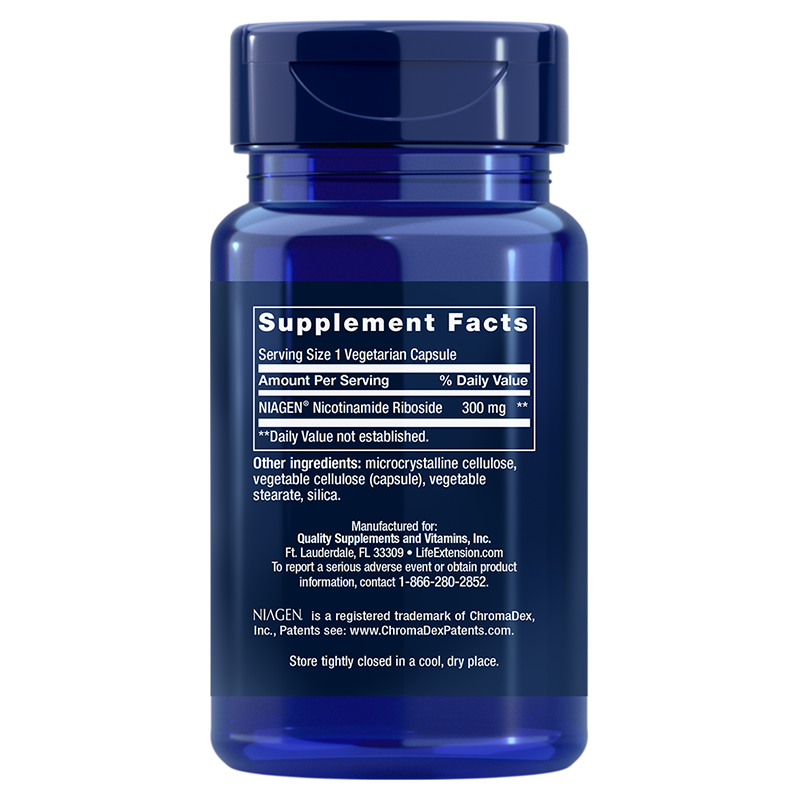 Life Extension 30 vegetarian capsules of NAD+ Cell Regenerator™, supplement facts