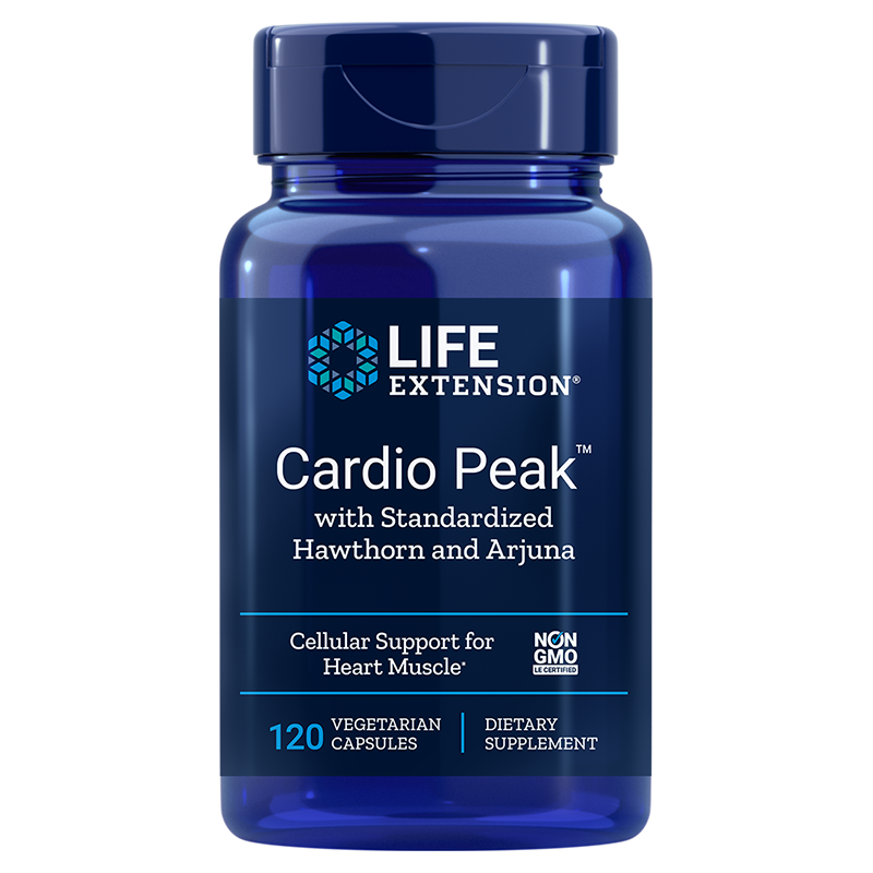Life Extension Cardio Peak with Standardised Hawthorn and Arjuna, 120 vegetarian capsules for cardiotonic support