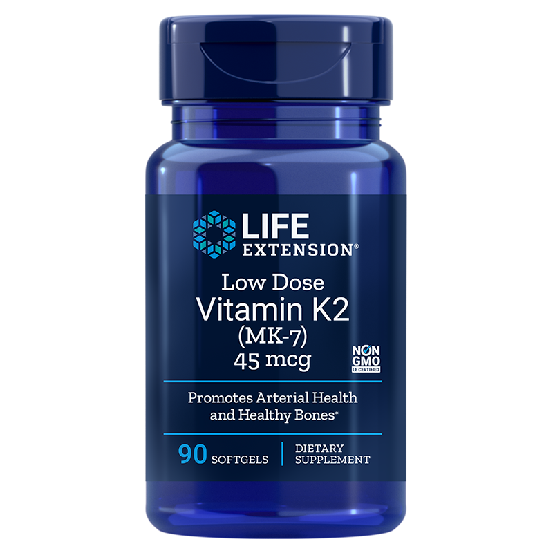 Life Extension supplement Low Dose Vitamin K2, 45 mcg 90 softgels for bone density and cardiovascular support