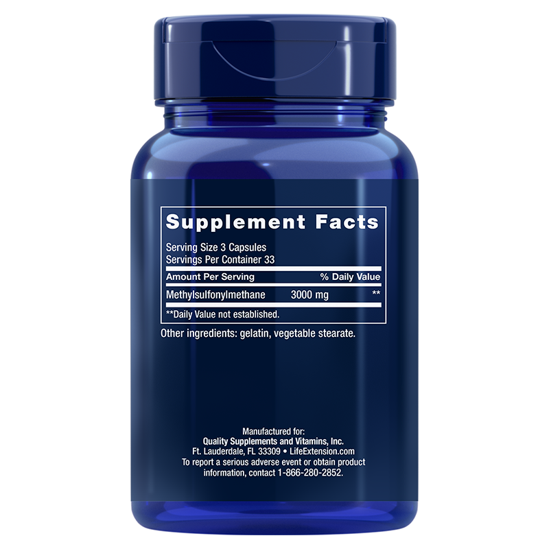 Life Extension MSM, supplement facts