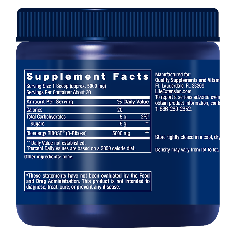 Life Extension D-Ribose Powder, supplement facts