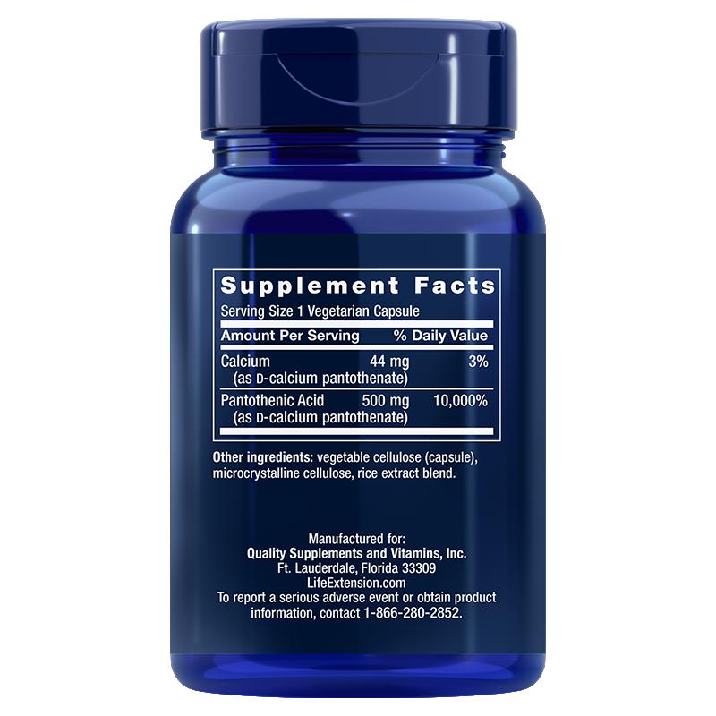 Life Extension Pantothenic Acid, supplement facts