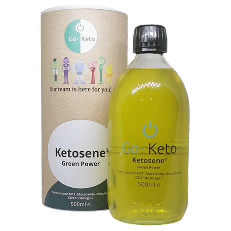 500 mg Go-Keto Ketosene® Green Power MCT oil with Omega-7, Avocado and Macademia Oil, for energy boost