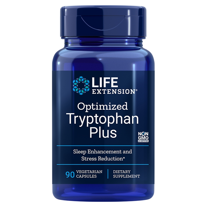 Life Extension Optimized Tryptophan Plus, 90 vegetarian capsules for healthy sleep, mood and satiety