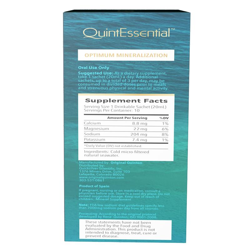 Life Extension 10 sachets liquid of QuintEssential® Hypertonic Elixir 3.3, supplement facts