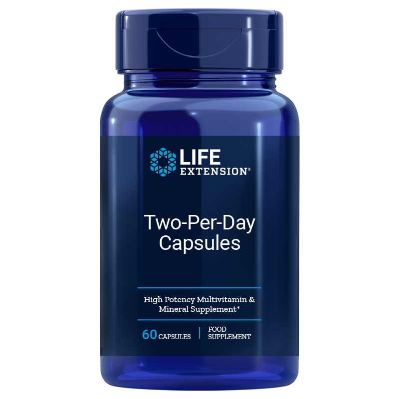 Life Extension Two-Per-Day 60 capsules for essential needs of quality vitamins, minerals, antioxidants for good health