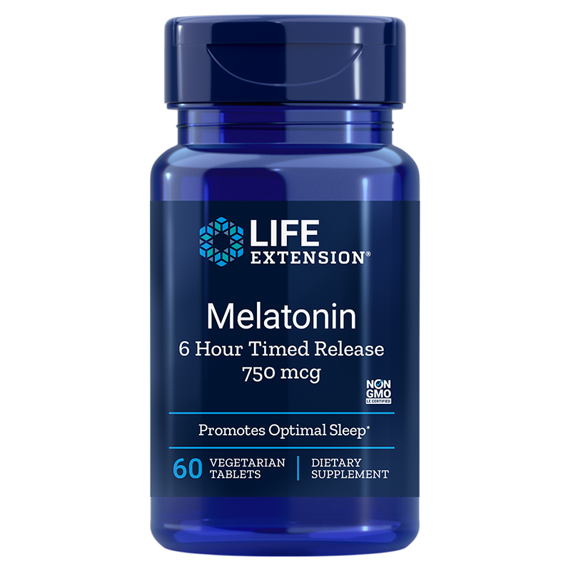 Life Extension supplement Melatonin 6 Hour Timed Release, 750 mcg 60 vegetarian tablets to help sustain sleep