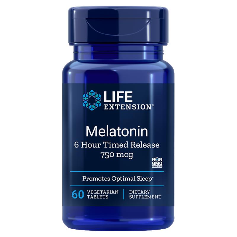 Life Extension supplement Melatonin 6 Hour Timed Release, 750 mcg 60 vegetarian tablets to help sustain sleep