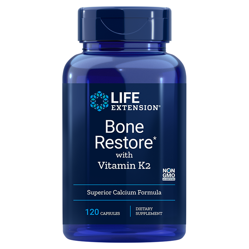 Life Extension Bone Restore with Vitamin K2, 120 capsules for comprehensive bone health support