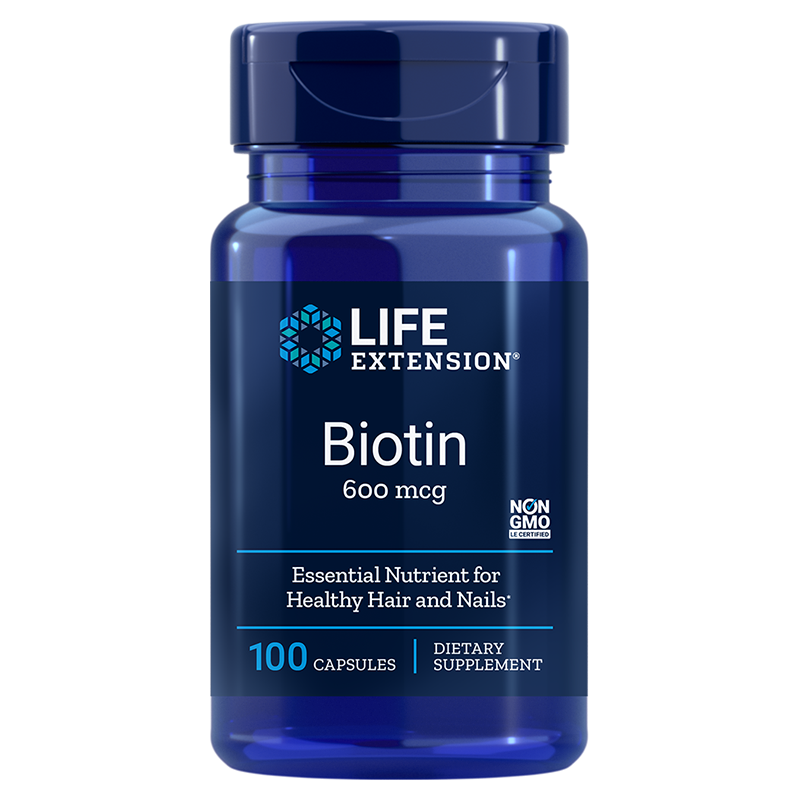 Life Extension supplement Biotin, 100 capsules to support healthy hair and nails